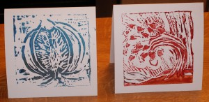 Photo of plant based lino block printing