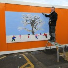 Mural panel depicting winter, 2. 4 mtr by 1.5mtr