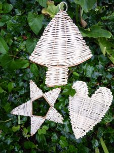 pic of woven christmas tree , star and heart