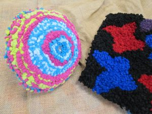 photo of rag rug cushion and starting a rag rug