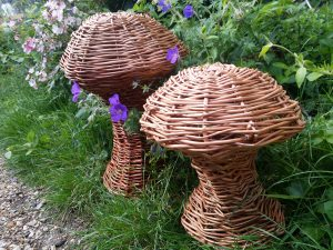 pic of two willow mushroom sculptures