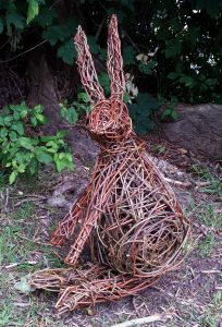 Willow hare for workshops by JaxsArts Willow Sculpture & Crafts