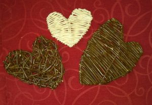 photo of 3 small willow hearts
