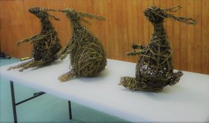 three willow hares made at my workshops