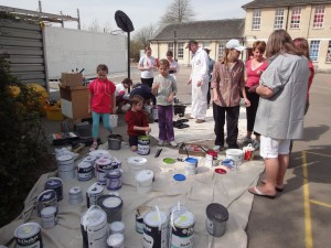 a picture of mural making particpants