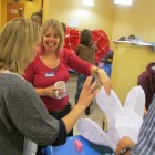 photograph of me demonstrating how to make willow lanterns at Winchester Lantern workshop